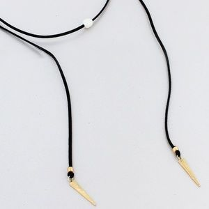 Faux Leather Spear Wrap Necklace